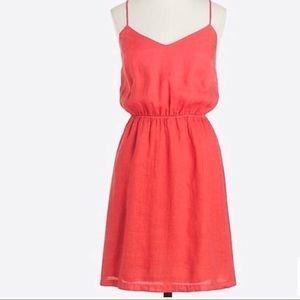 J Crew Linen Summer Dress in Coral